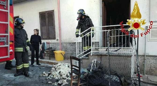 Vigili del fuoco intervenuti nella casa di San Calogero