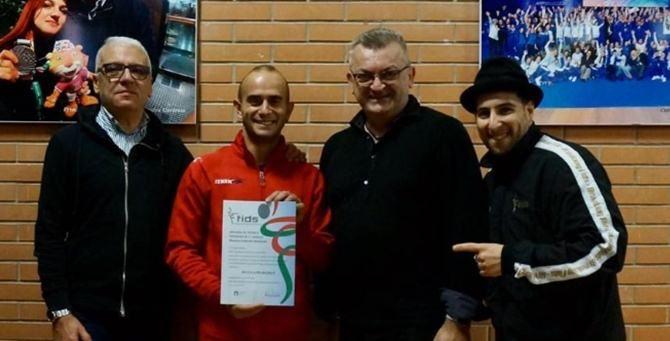 Francesco Barbato e Francesco De Luca con Giuseppe Di Mauro (Commissario Tecnico della Nazionale di breaking FIDS) e Piercarlo Pilani (Presidente MIDAS)