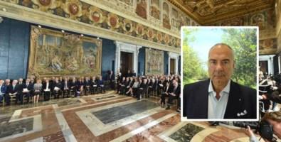 Un momento della cerimonia e Giovanni Francesco Capua