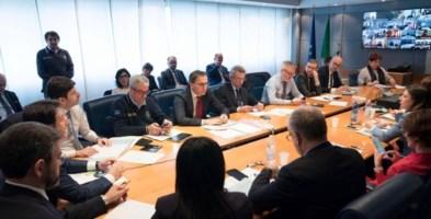 La riunione nella sede della Protezione civile nazionale