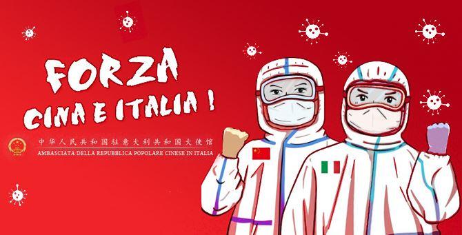 La foto apparsa sul profilo Twitter dell'Ambasciata cinese in Italia