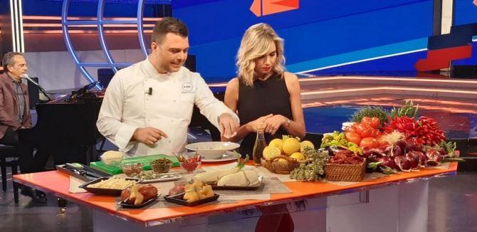 Chef Mancuso con la conduttrice Marangoni