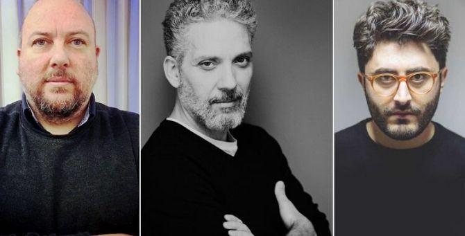 In foto da sinistra Luca Marino, Beppe Fiorello, Mario Vitale