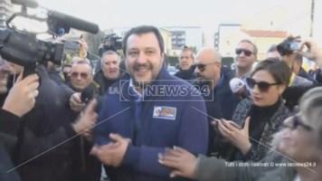Salvini in Calabria, prima tappa a Rende. «I Cinquestelle? Ormai non esistono più»