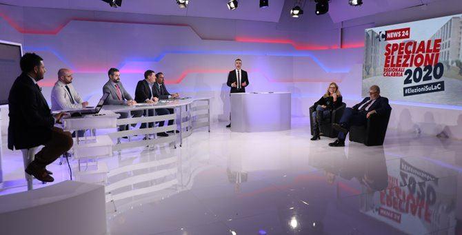 Un momento della maratona elettorale su LaC Tv