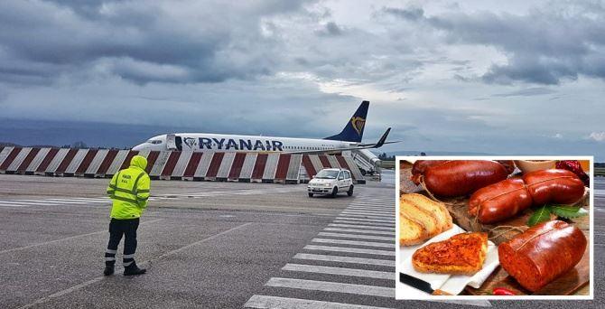 Aeroporto di Lamezia e immagine con la 'nduja