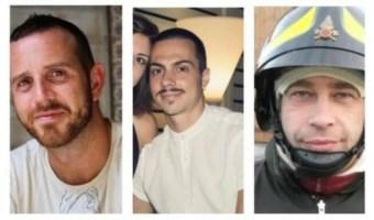 I vigili del fuoco morti: Marco Triches, Nino Candido e Matteo Gastaldo