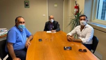 Il consigliere regionale Raso, l'assessore De Caprio e il deputato Furgiuele