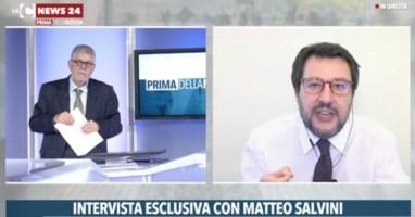 Il direttore di LaC News24 Pasquale Motta e il segretario della Lega, Matteo Salvini