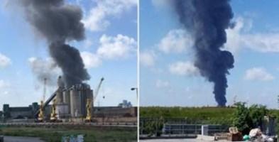 L'incendio a Marghera (foto AdnKronos)