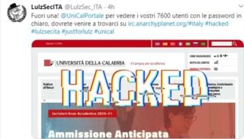 Attacco informatico al portale dell'Università della Calabria