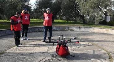 Volo sperimentale dei droni avvenuto nel gennaio 2019 (foto Ansa)