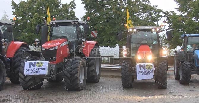 Alcuni trattori impiegati nella protesta