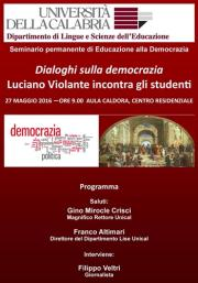 Domani all'Università della Calabria i 'Dialoghi sulla democrazia'