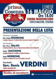 Amministrative Cosenza, nel pomeriggio la presentazione della lista 'Prima Cosenza'
