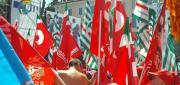 Le bandiere dei sindacati